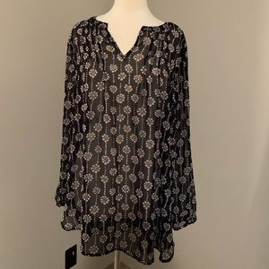 Loft navy and cream patterned tunic top
